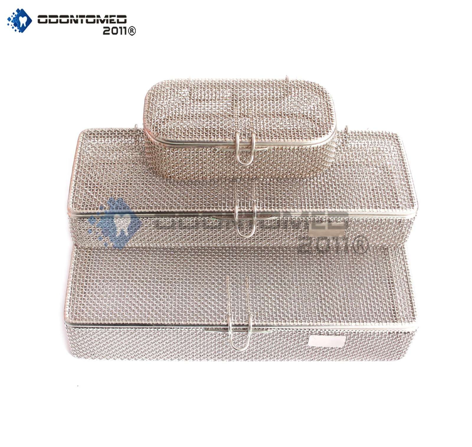 OdontoMed2011 SET OF 3 INSTRUMENT TRAY AND MESH PERFORATED BASKETS STERILIZATION TRAY WITH LID STAINLESS STEEL