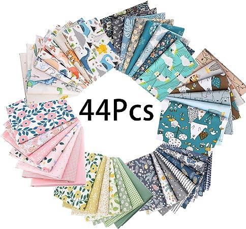 GOTONE 56piezas Tela de algodón para manualidades, Telas Patchwork de Algodón para Tejido Costura Pelusas DIY Artcraft Trabajo Álbumes de Recortes, 25x25cm (Animales y florals): Amazon.es: Hogar