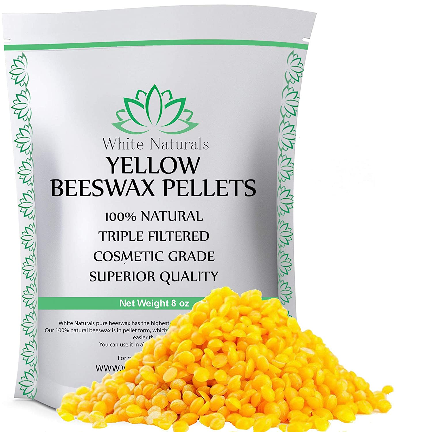 Beeswax Pellets 8 oz, Yellow, Pure, Natural, Cosmetic Grade, Bees Wax Pastilles, Triple Filtered, Great For DIY Projects, Lip Balms, Lotions, Candles By White Naturals