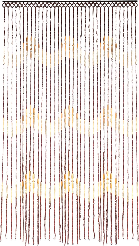 JVL Tuscany Hanging Waves Wooden Beaded Door Curtain Screen, 90 x 180 cm Waves Design