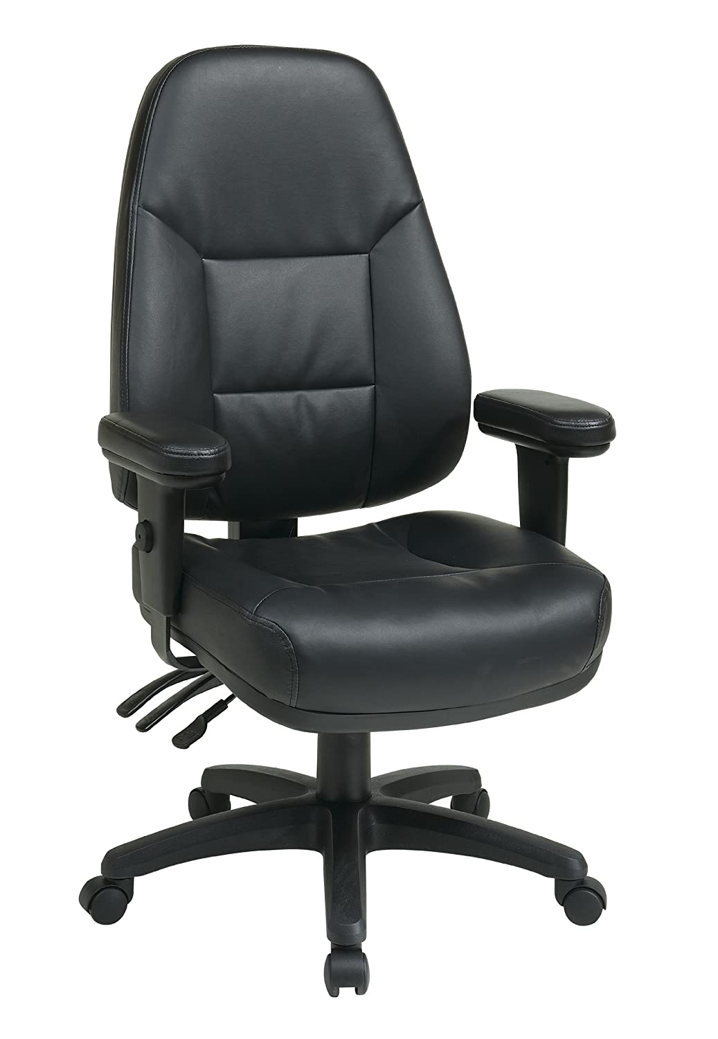 Office Star Professional Dual Function Ergonomic High Back Eco Leather Office Chair, Black