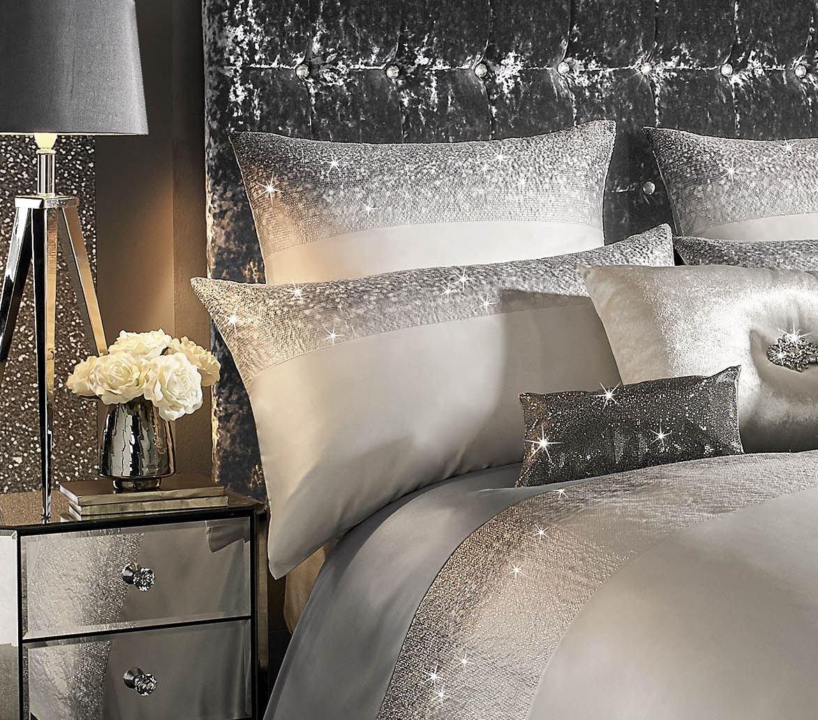 Kylie Minogue brillante color plata lentejuelas 200 TC Super King Size 3 piezas Juego de ropa de cama: Amazon.es: Jardín