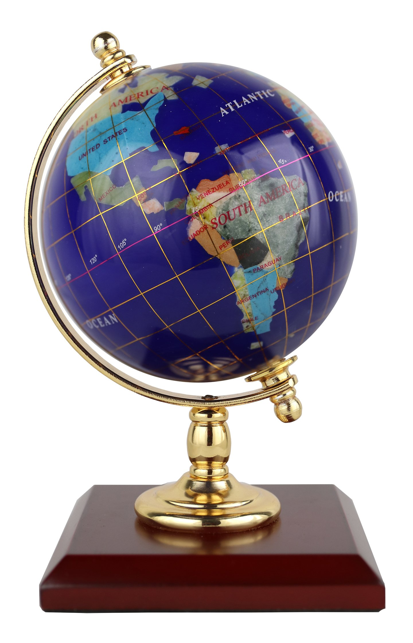 Replogle Desktop Gemstone Globe - Handcrafted with Precious Stones, Ideal for Home or Office Décor, Padded Gift Box Included, Perfect Gift for Any Occasion (4''/10 cm diameter)