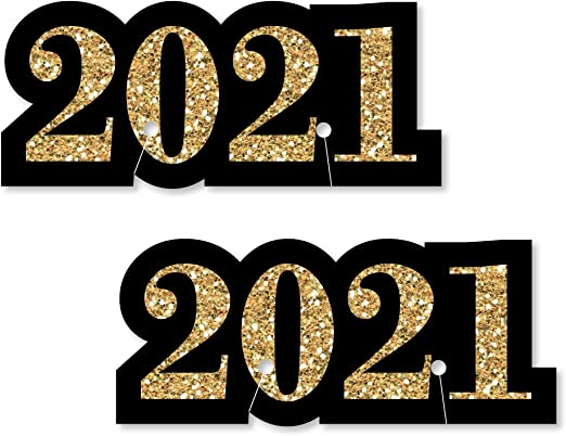 Amazon Com Big Dot Of Happiness New Year S Eve Gold Shaped 2021 New Years Eve Party Glass Markers Set Of 24 Wine Glasses