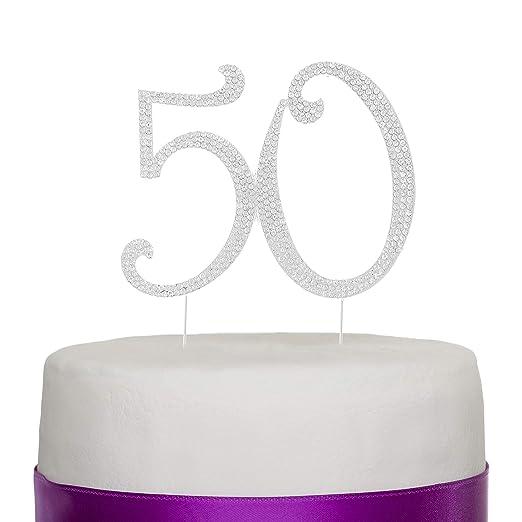 Número 50 Decoración para torta Topper Plata 50 años Fiesta de Cumpleaños o de Aniversario Diamantes de imitación Pedrería