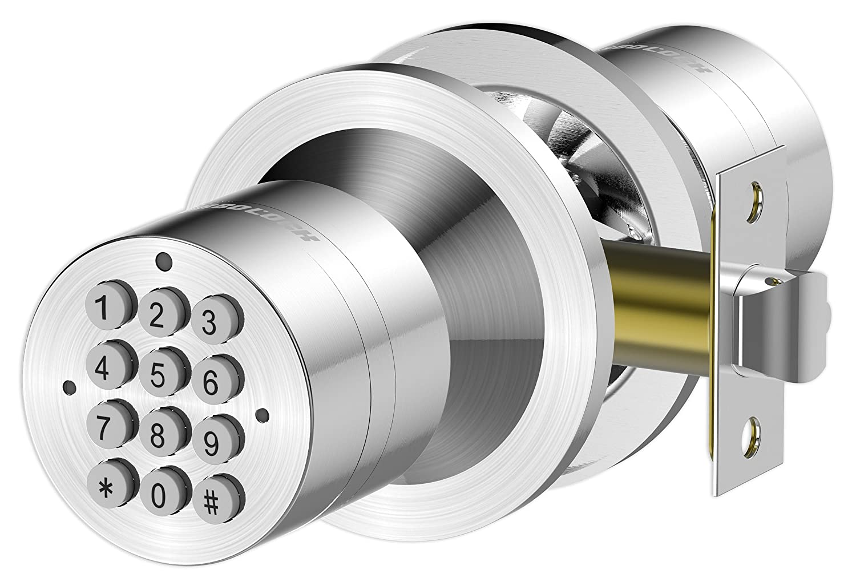 Advanced Security TurboLock Keyless Smart Lock – with Automatic Locking, Battery Backup & Easy Installation (No Bluetooth, Satin Chrome)