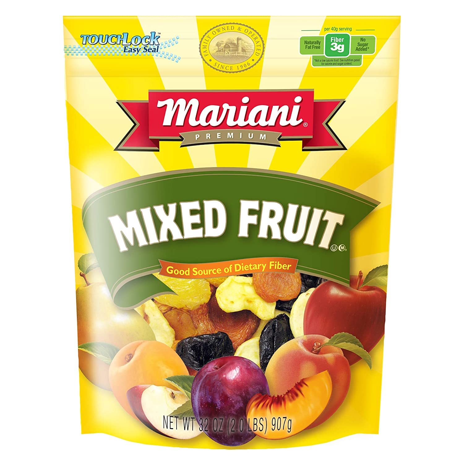 Mariani Mixed Fruits - 32oz (Pack of 1) – Perfect Blend of Orchard Fruits, No Sugar Added, Good Source of Dietary Fiber, Gluten Free, Vegan, Fat Free, Cholesterol Free, NonGMO, Resealable Bag - Healthy Snack for Kids & Adults