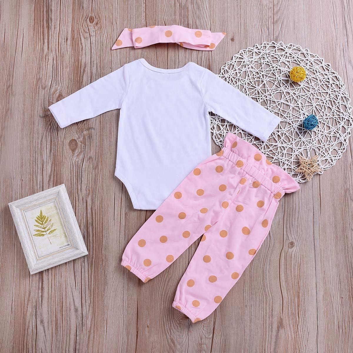 3Pcs Newborn Baby Girl Shorts Outfit Clothes Rainbow Romper+Ruffles Short+Headband