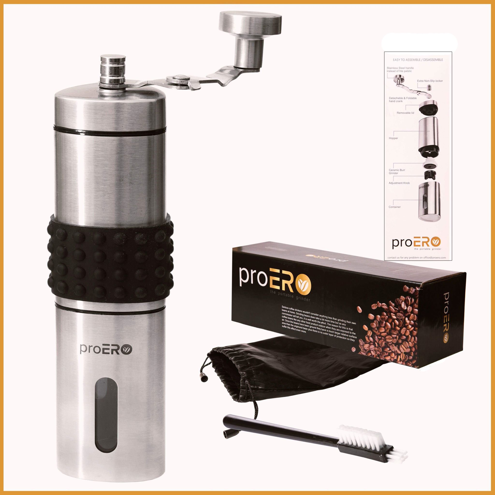 proERO Manual Coffee Grinder – Stainless Steel Coffee Hand Mill with Conical Ceramic Burr, Built-in Grind Selector with 18 Click Settings and Sealed Window for French Press, Turkish, Handheld Mini, K