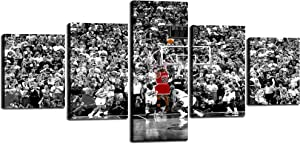 TWO J MichaelJrodan Poster Art NBA Stars Paintings 5 Piece Canvas Basketball Sports Picture Artwork for Living Room Prints Wall Decor Decoration Wooden Framed Ready to Hang [50''W x 24''H]