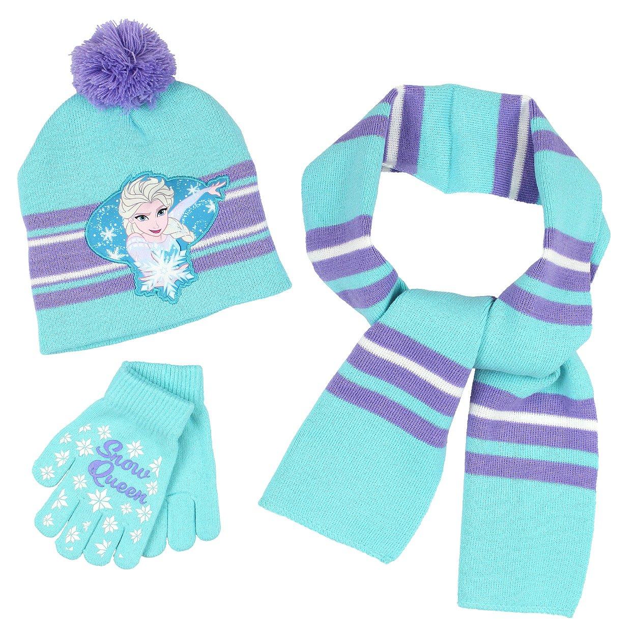 Frozen Elsa Girls 3 piece Beanie Hat Gloves and Scarf Set Blue)
