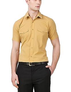 97ee1b7d91 Aady Jones White Double Pocket Slim Fit Solid Men's Half Sleeves ...