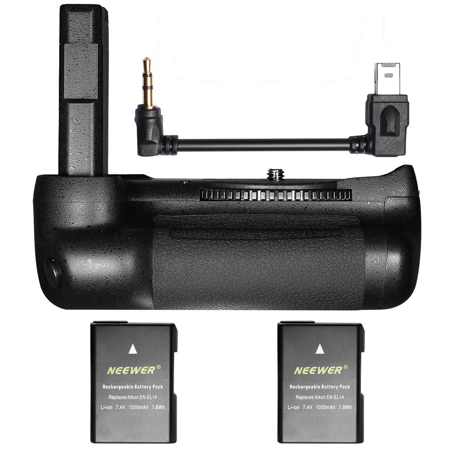 Neewer Pro Vertical Battery Grip for Nikon D5600 and D5500 DSLR Camera with 2-Pack 7.4V 1050mAh Nikon EN-EL14 Replacement Rechargeable Li-ion Battery (Black) by Neewer