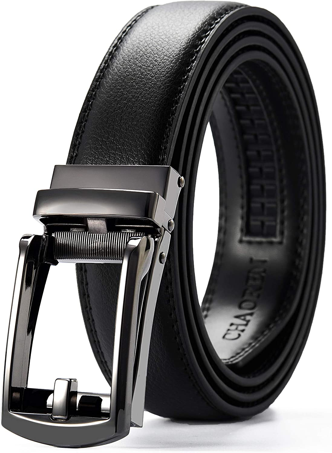"""Leather Dress Belt Automatic lock Click Comfort Buckle UP to 50/"""" New Men/'s belt"""