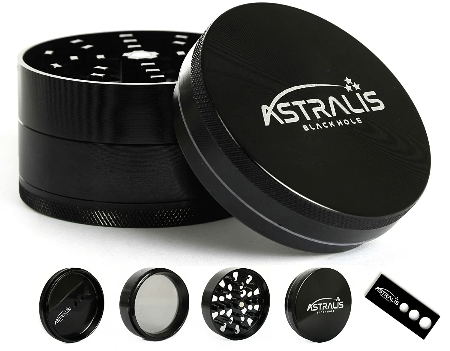 """High-end Grinder """"Black Hole"""" by ASTRALIS - Sharp crusher grinds herbs like a beast - Innovative """"Space Ship"""" included 