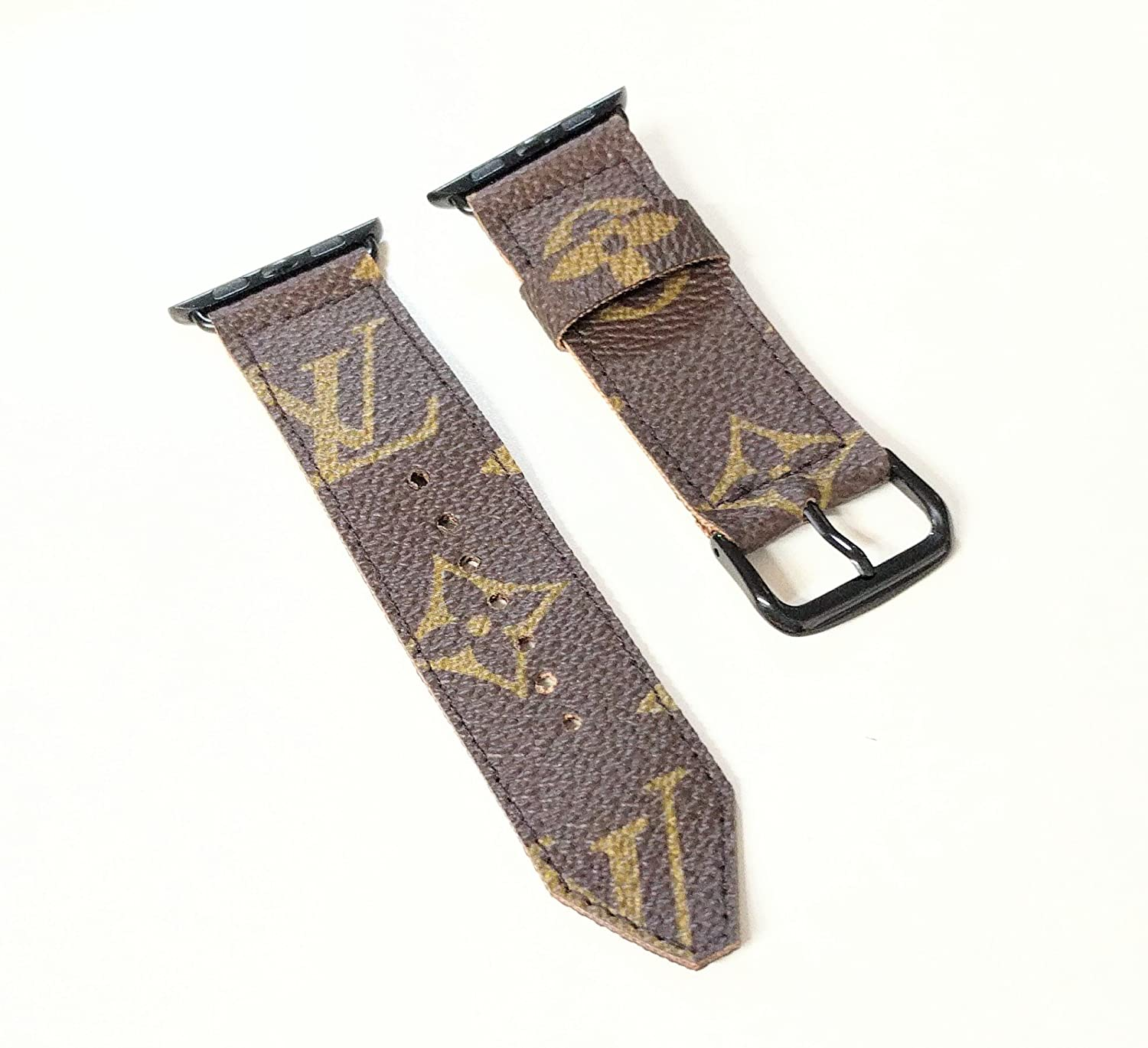 c6263be9ad43 Handcrafted watch band compatible with apple watch made from authentic LV  old bag canvas size 42mm or 44mm black-please read item description before  you ...
