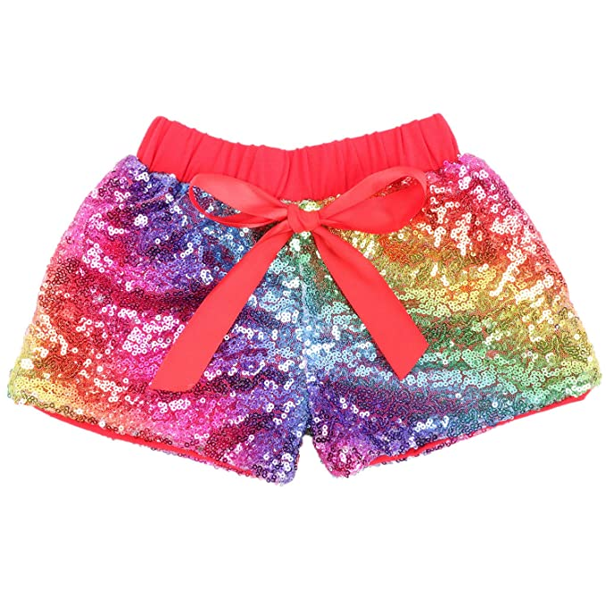 fb195a58e47 Cilucu Baby Girls Shorts Toddler Sequin Shorts Sparkles on Both Sides Red  Rainbow 3T