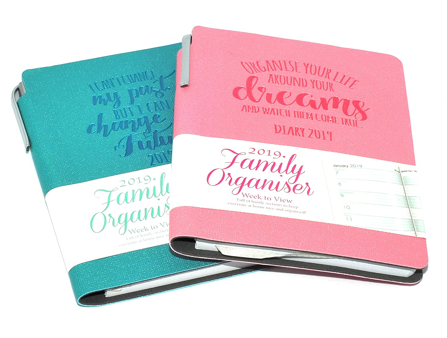 1x A6 2019 Home Family Week to View Diary Organiser - Design at Random icompact