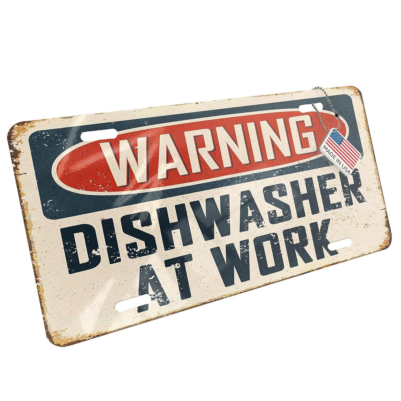 NEONBLOND Metal License Plate Warning Dishwasher at Work Vintage Fun Job Sign