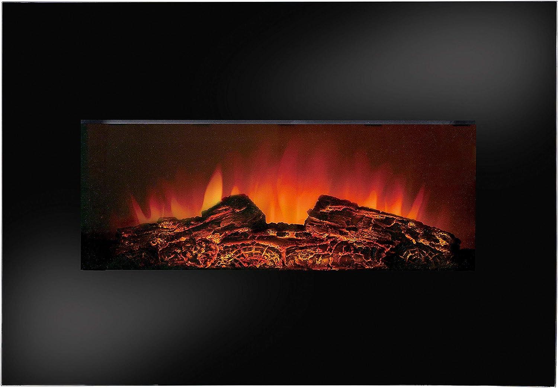 Schwarz Elektrokamin 80zm Durchmesser FlinQ Elektrischer Kaminofen Stockholm Wandkamin Elektrisch mit Heizung Funktion Fireplace