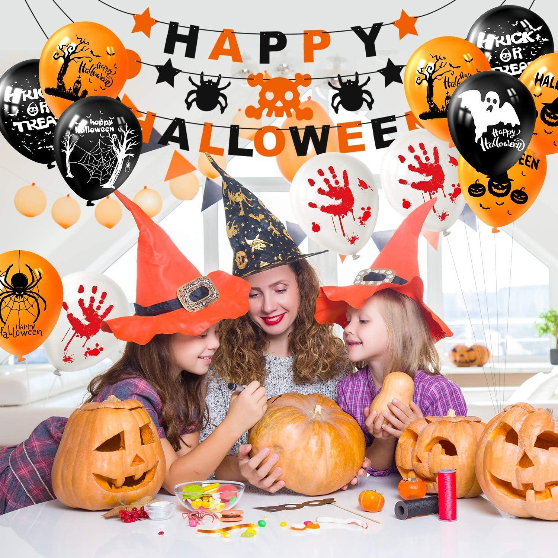 Halloween Ballon BESTZY 100PCS 12  Halloween D/écorations Ballons en Latex 1PCS Banderole Banniere Happy Halloween Citrouille Toile Ballons