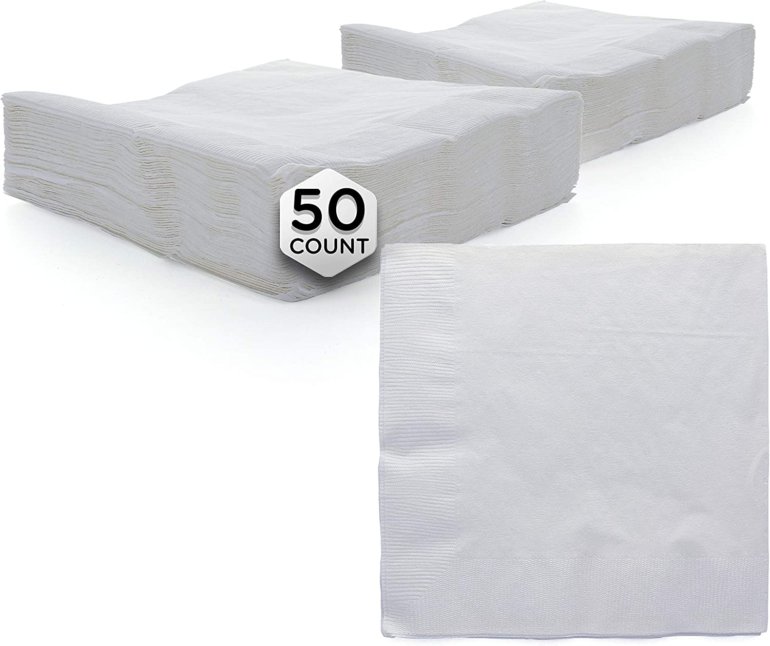 "Amcrate Big Party Pack 50 Count White Dinner Napkins Tableware- Ideal for Wedding, Party, Birthday, Dinner, Lunch, Cocktails. (7"" x 7"")"