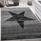 Paco Home Alfombra De Diseño con Estampado Moderno De Estrella De Velour Corto Mezclada En Gris Y Negro, tamaño:80x150 cm