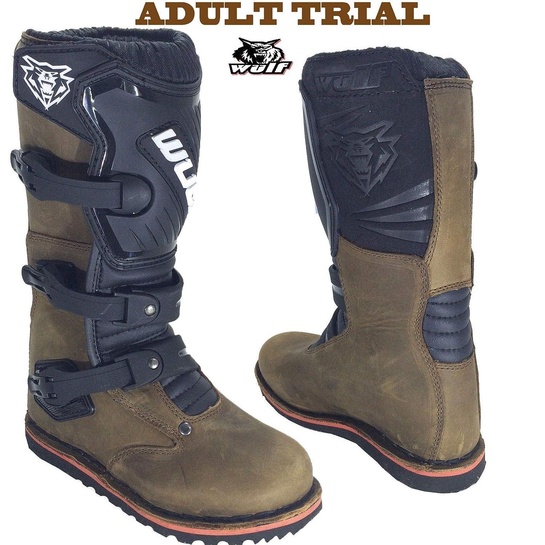 Trial Stiefel WULFSPORT Enduro Quad Trail Leder Stiefel Off Road BRAUN (44) TRIALS BROWN