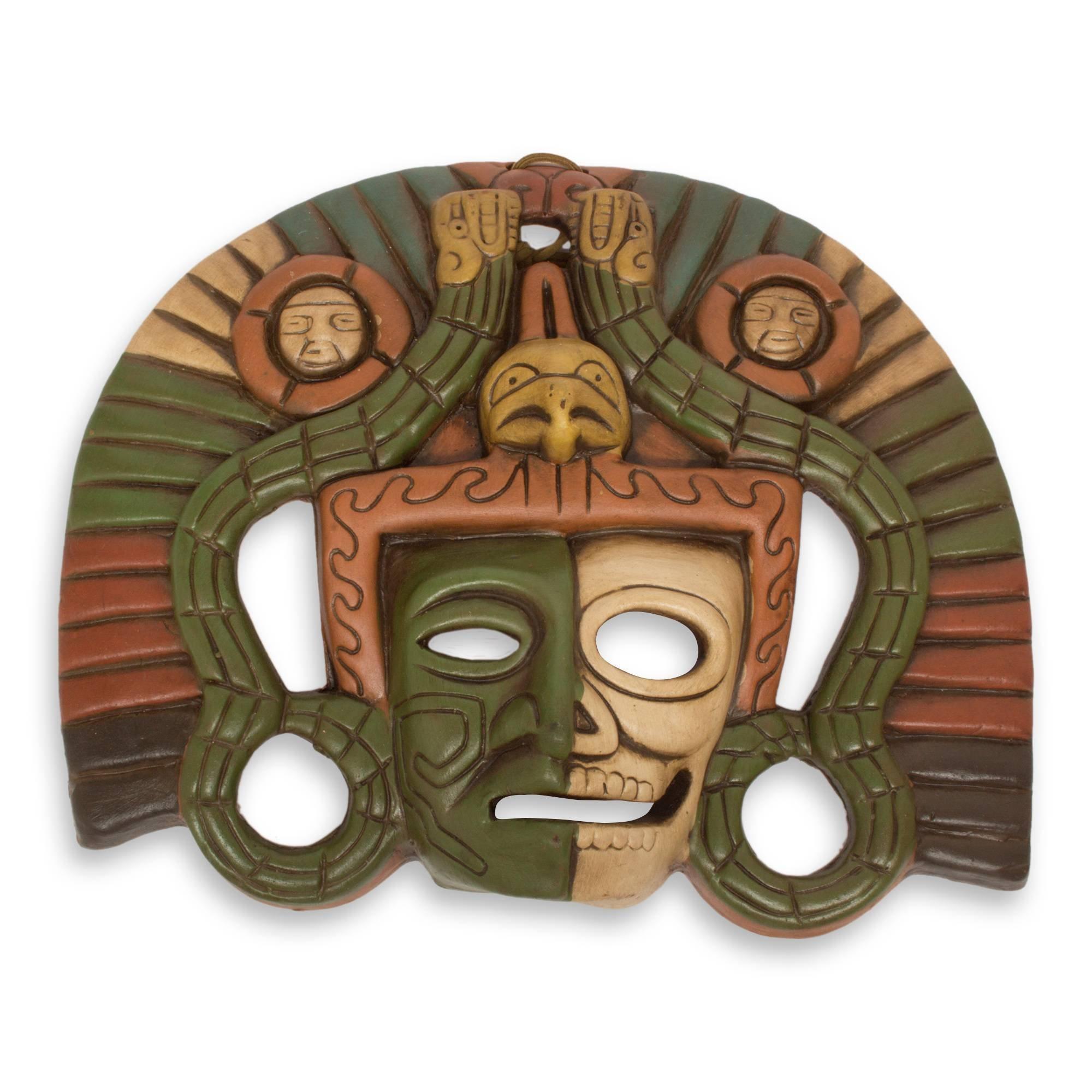 NOVICA Decorative Aztec Duality' Ceramic mask by NOVICA