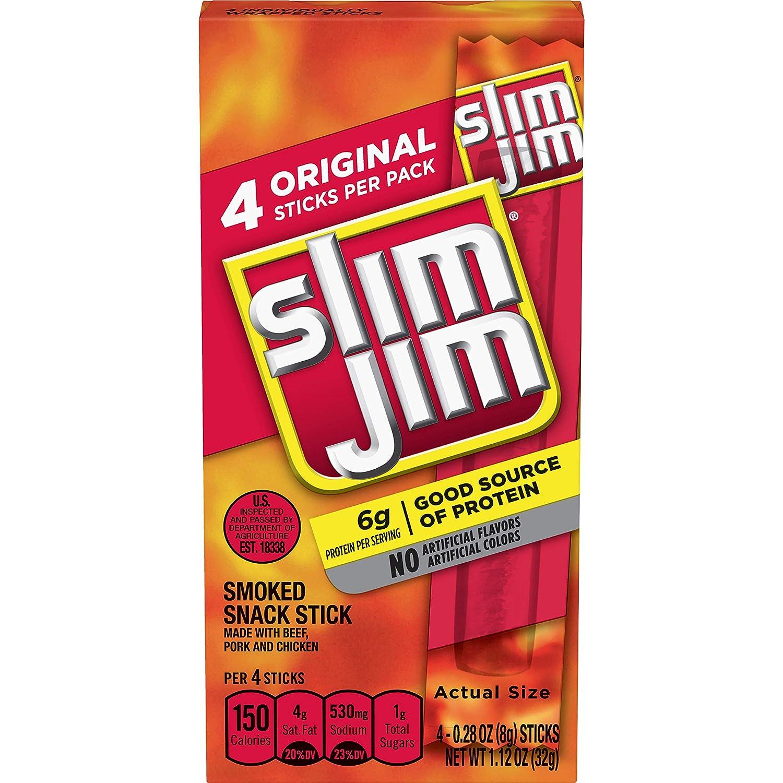 Slim Jim Snack-Sized Smoked Meat Stick, Original Flavor, 1.12 Oz.
