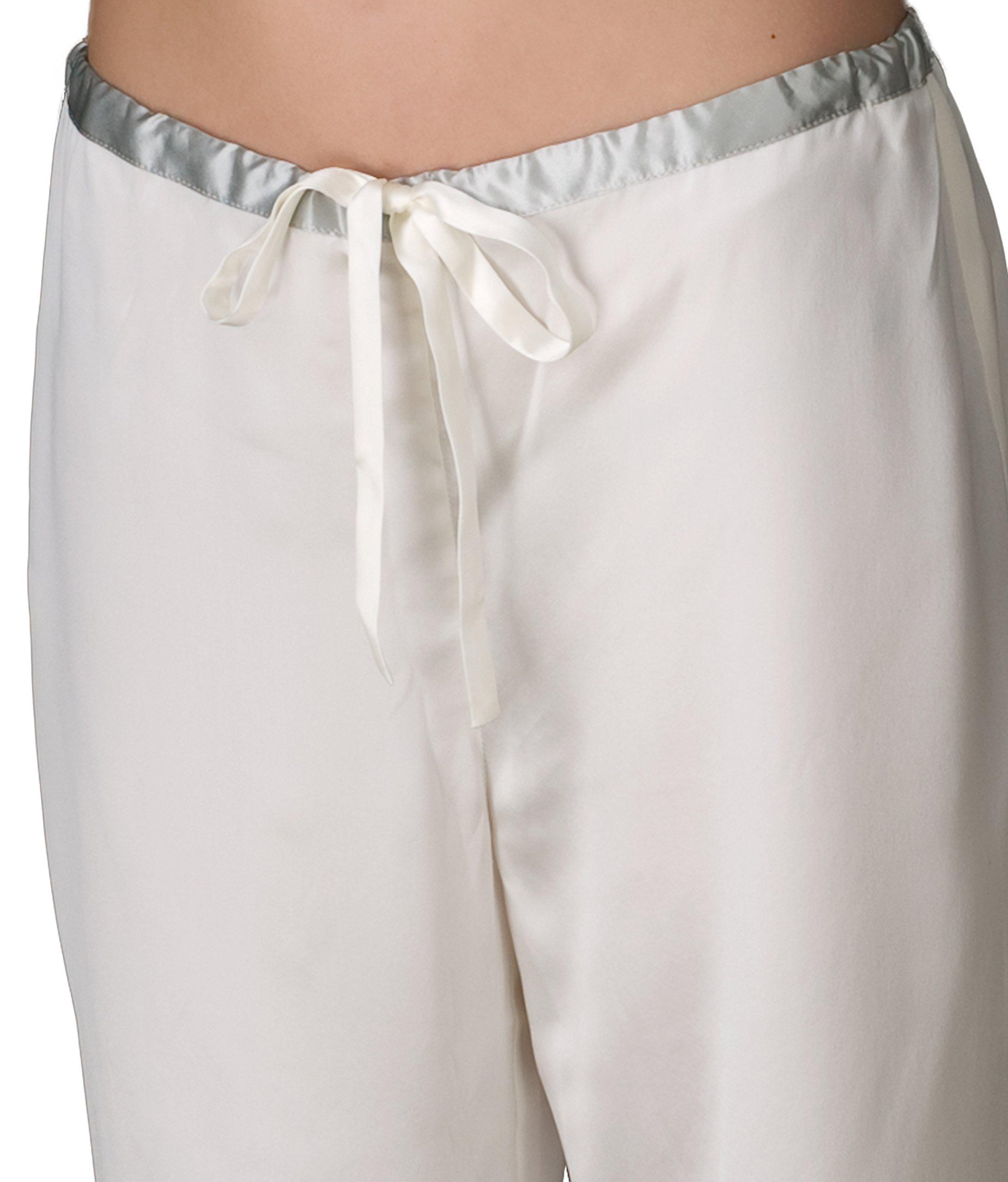 Julianna Rae Women's 100% Silk Pajama, Classic Fit, Evening Lounge, Alabaster, Petite, M by Julianna Rae (Image #4)