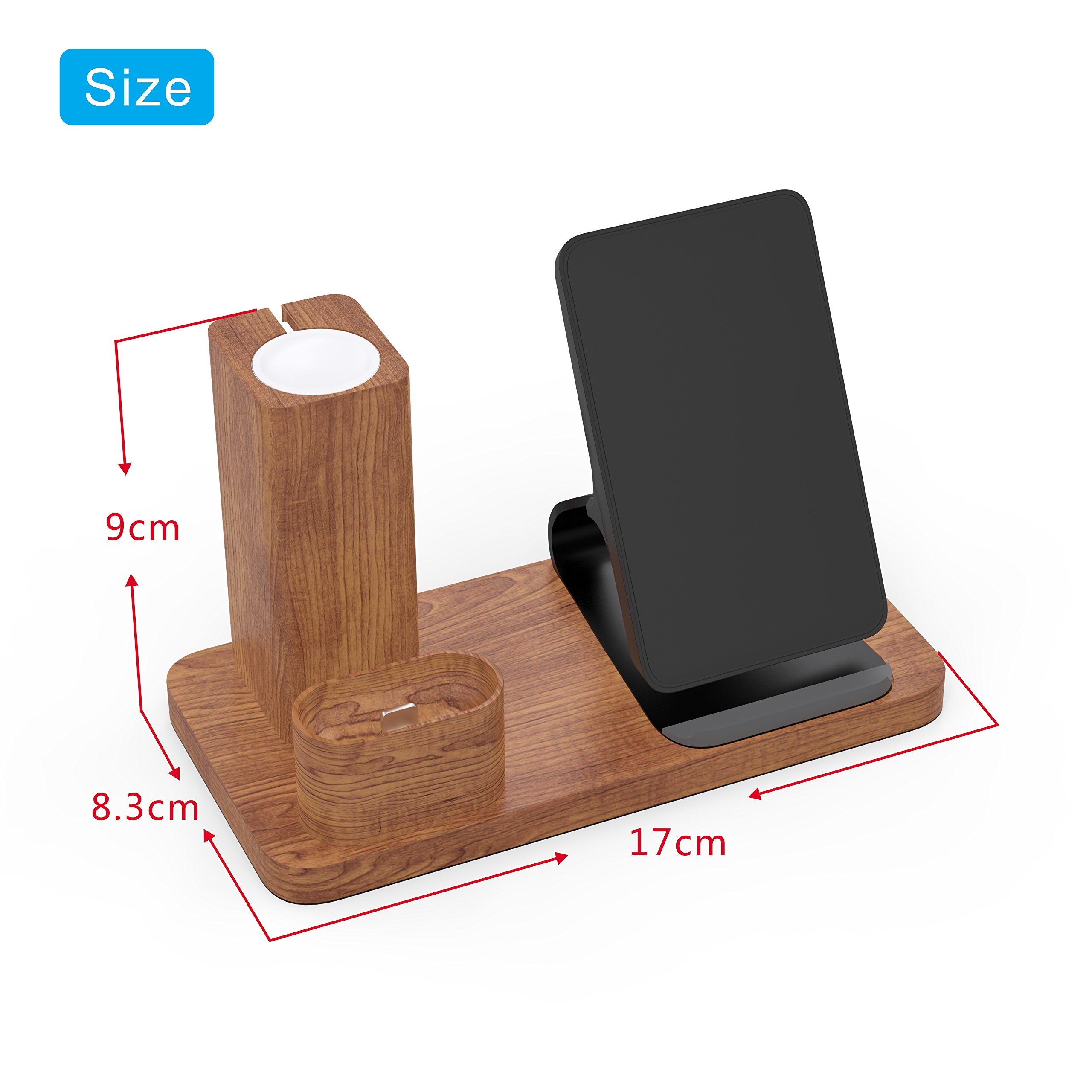 Wireless Charger Stand Apple Watch Airpods Charging Station, OLVOO 3 in 1 Wood Charging Docks for AirPods/Apple Watch Series 3/2/1 iPhone X/8/8 Plus Samsung Note 8/S9/S9 Plus by OLVOO (Image #7)