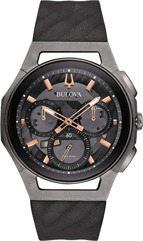 Bulova Curv Collection Reloj cronógrafo gris oscuro para hombre de 44 mm