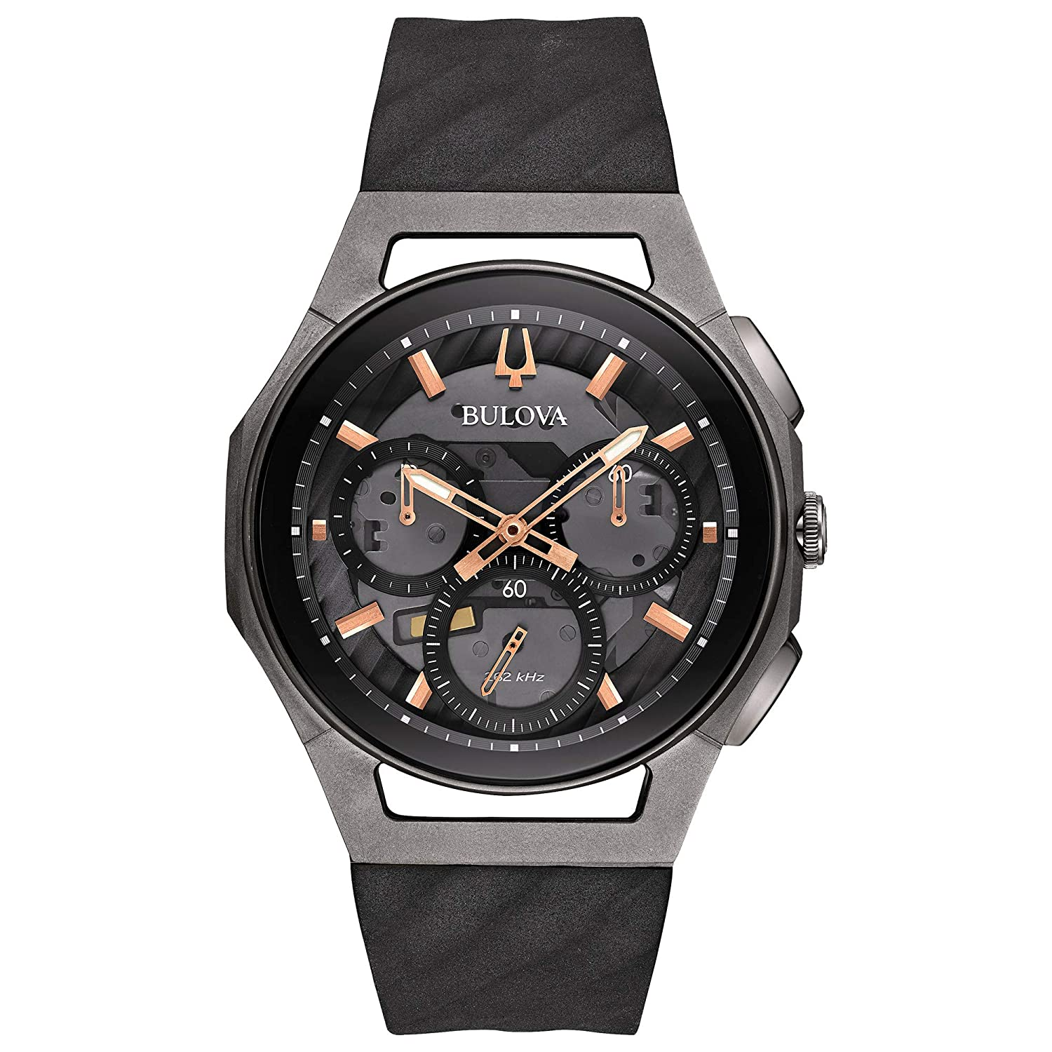 b342b03b2142 Amazon.com  Bulova Men s Curv - 98A162 Black Stainless Steel Titanium One  Size  Watches