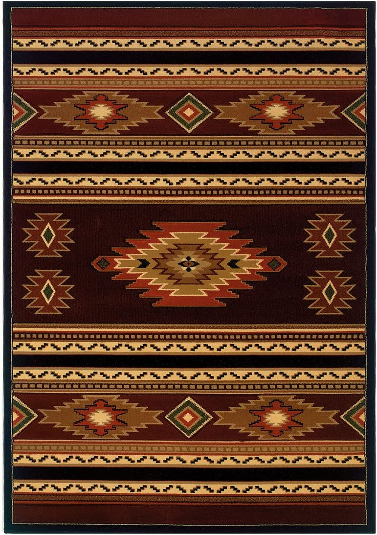 United Weavers of America Contours Cem Soaring Diamond Terracotta Rug – 2ft. 7in. x 7ft. 4in. Multicolor Olefin Rug with Jute Backing, Thick Pile