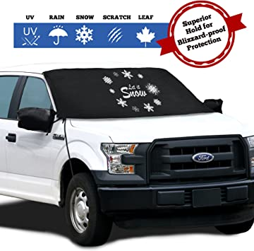 Trucks Adjustable Suction Cups Fits Most Cars SUVs and F150s Minivans Strings and Mirror Covers Windshield Cover for Ice and Snow Weatherproof and Windproof with Ear Flaps 57X74