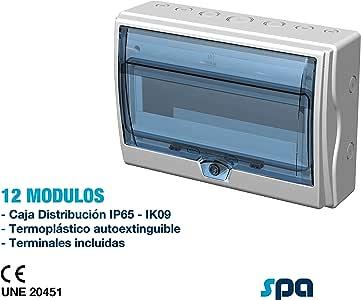 Caja de distribución IP65, con terminales (12+1 Módulos): Amazon.es: Bricolaje y herramientas