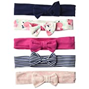Hudson Baby Baby Girls' Cotton Headbands, Navy Floral 5 Pk, 0-24 Months