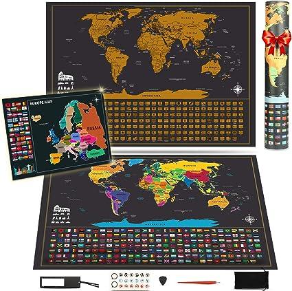 KOOOPER Mapa del Mundo, Mapa Mural para Rascar del Mundo 255*165mm ...