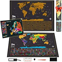 Koooper Carte à gratter, Carte du monde 640 * 430mm + Offre Carte de l'Europe 460 * 340mm avec des autocollants - Parfait pour les voyageurs/explorateurs / collectionneurs, etc.