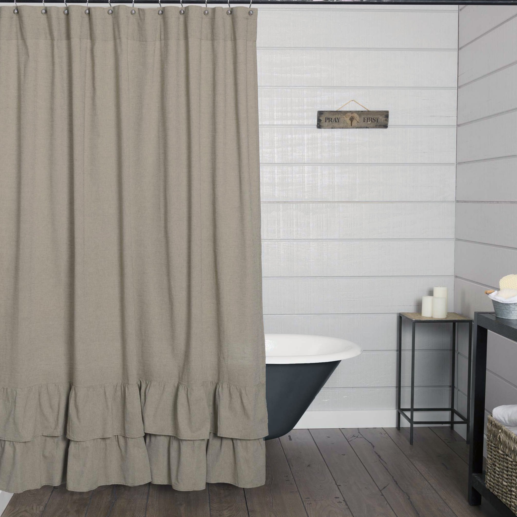 Piper Classics Ruffled Chambray Taupe-Grey Shower Curtain, 72x72, Vintage Farmhouse Decor