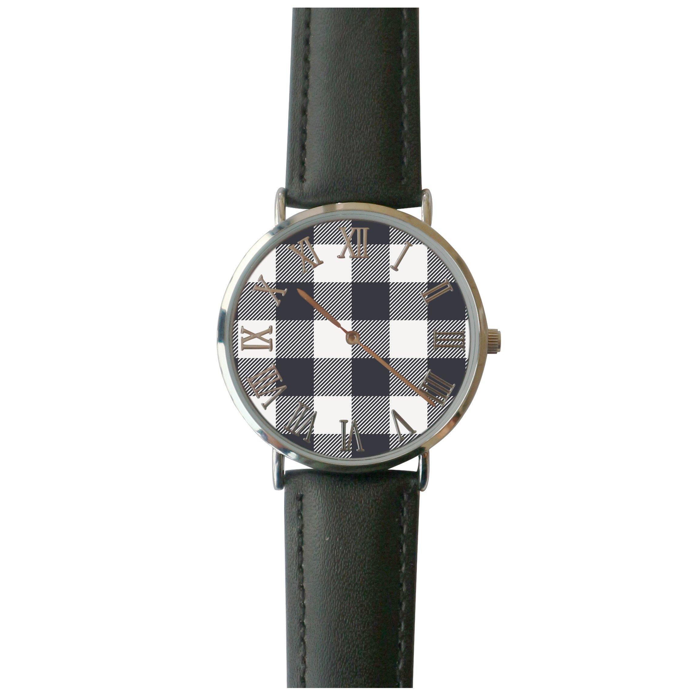 JISJJCKJSX Gray Plaid custom watches quartz watch stainless steel case by JISJJCKJSX (Image #1)