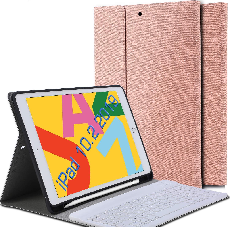 Funda Con Teclado Para iPad 10.2 (2019) 7 Gen. Rosa