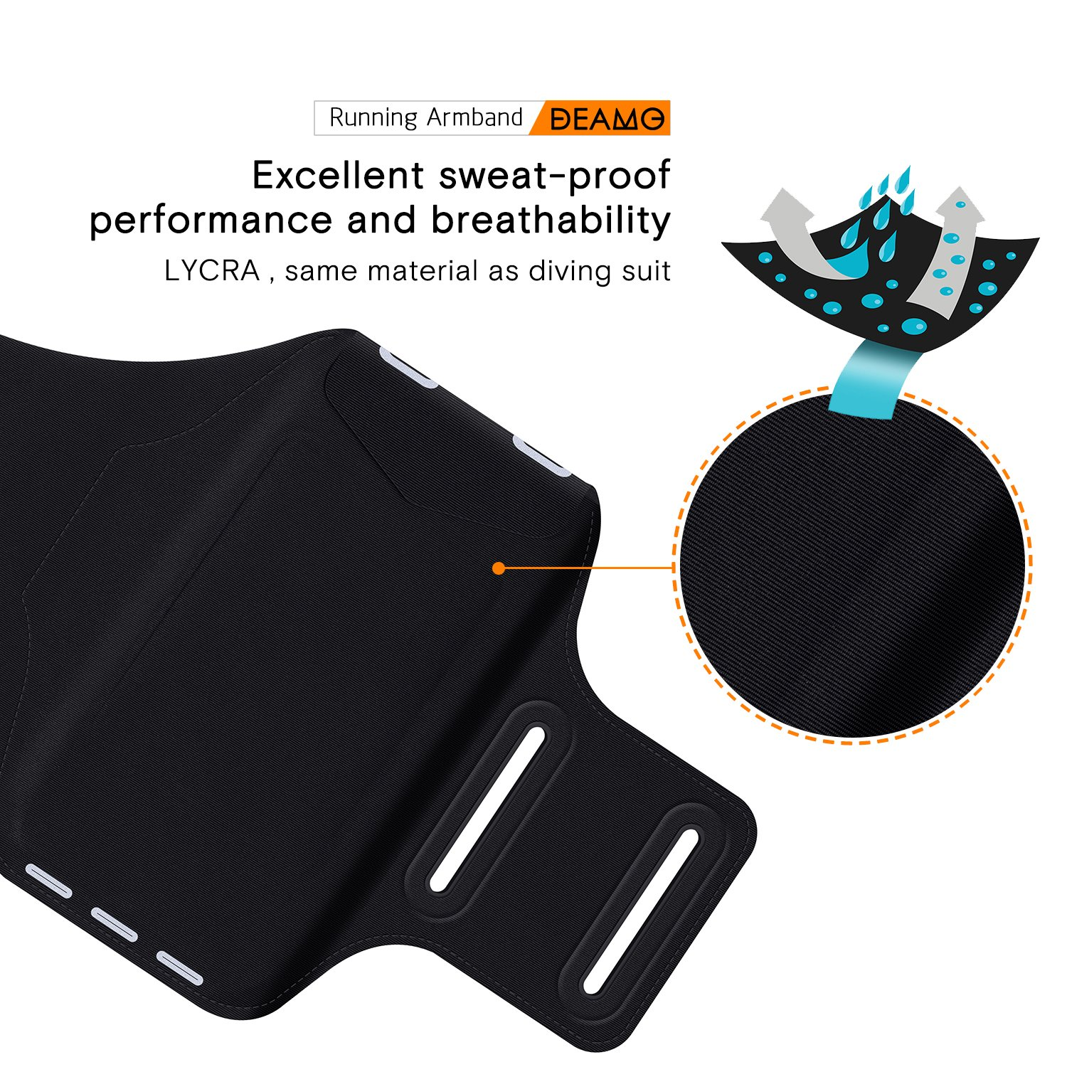 IPhone X, 8, 8+, 7, 7+, 6S, 6S+, 6, 6+ Samsung S8 S9 SPORTS Armband - Fingerprint Touch, Great for Running, Cycling or any Fitness Activity, Unique Hidden Pocket for Stores Cash, Cards and Keys. by Deamo (Image #5)