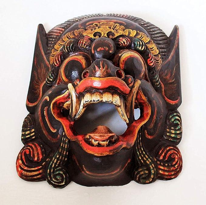rouge en bois monkey Masque de Barong,sculpté à la main à Bali,mural masque,NEUF