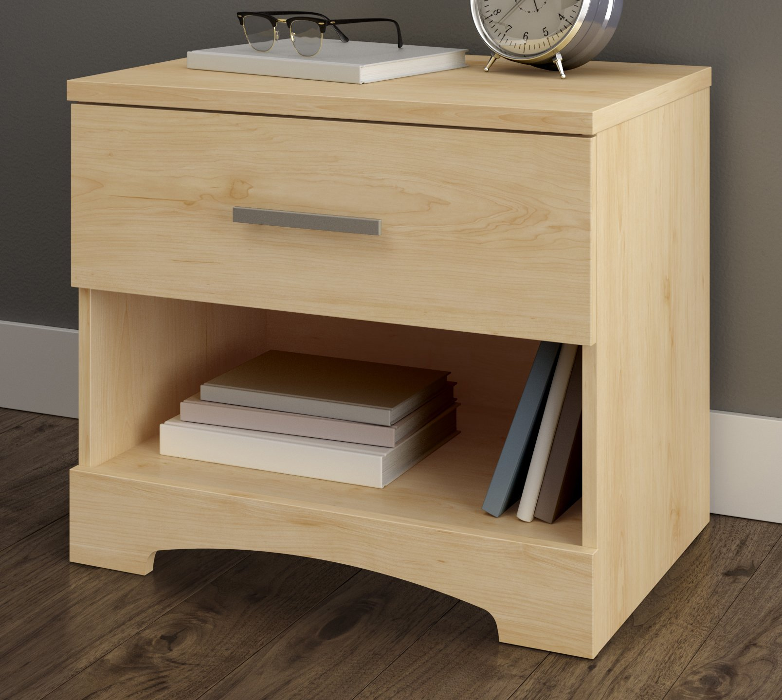 South Shore Gramercy 1-Drawer Nightstand, Natural Maple with Metal Handle