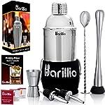 Elite Cocktail Shaker Set Bartender Kit by BARILLIO: 24 oz Stainless