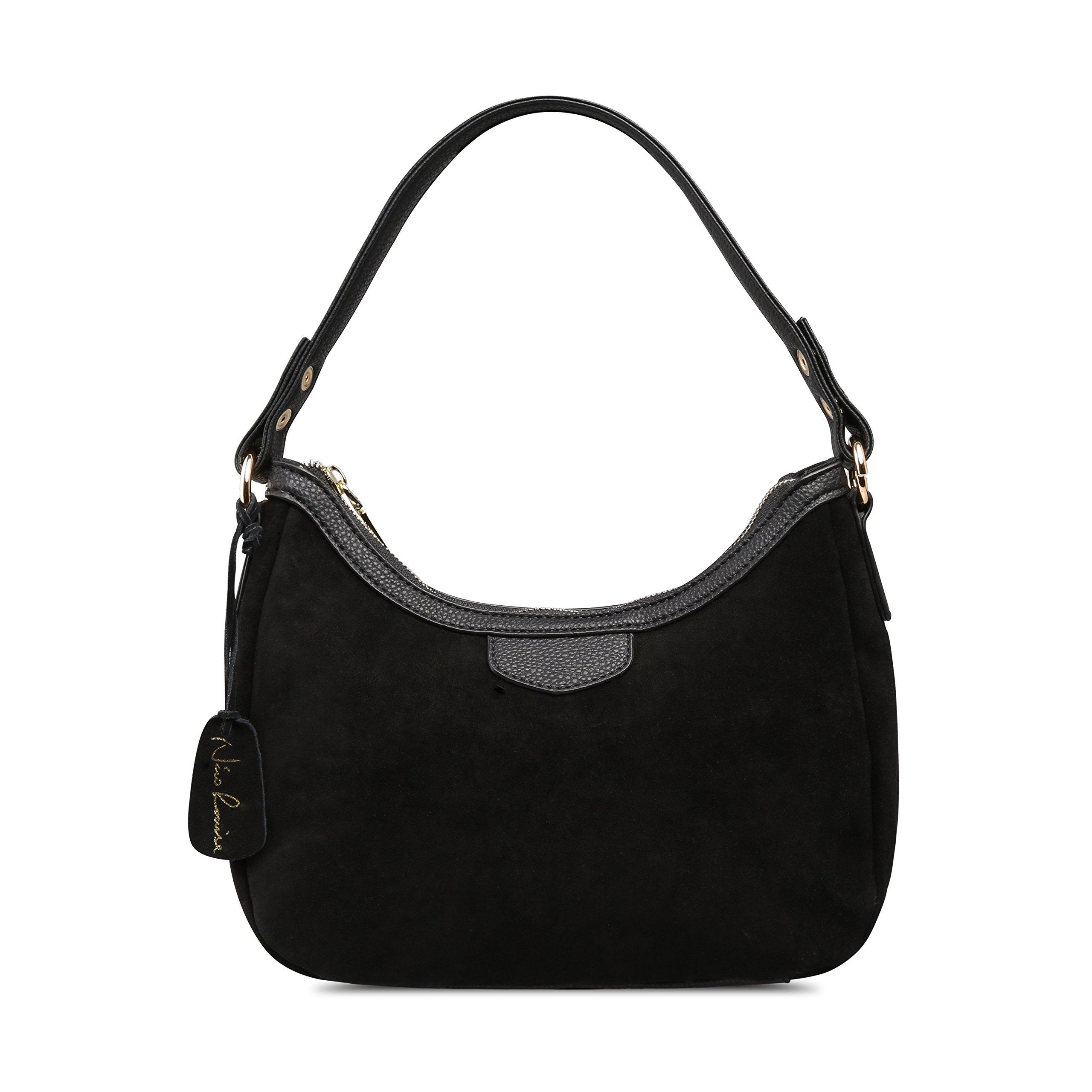 Women Real Suede Leather Small Shoulder Bag Brand Female Leisure Crossbody Handbag … (Black)