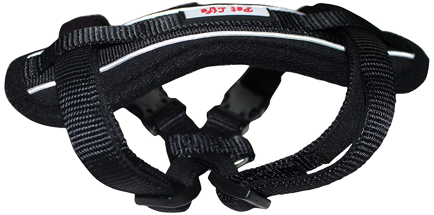 PET LIFE 'Mountaineer' Chest Compressive Adjustable and Reflective Easy Pull Pet Dog Harness, Medium, Black