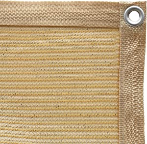 Shatex 90% Shade Fabric Sun Shade Cloth Taped Edge with Grommets Sun-Block Mesh Shade for Pergola Cover Canopy 10' x 20', Wheat, 12 Bungee Balls